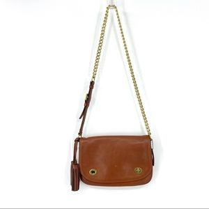 Coach Double Turn Lock Legacy Shoulder Cognac Bag